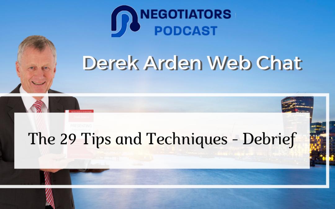 Web Chat Derek Arden 29 Tips and Techniques Debrief